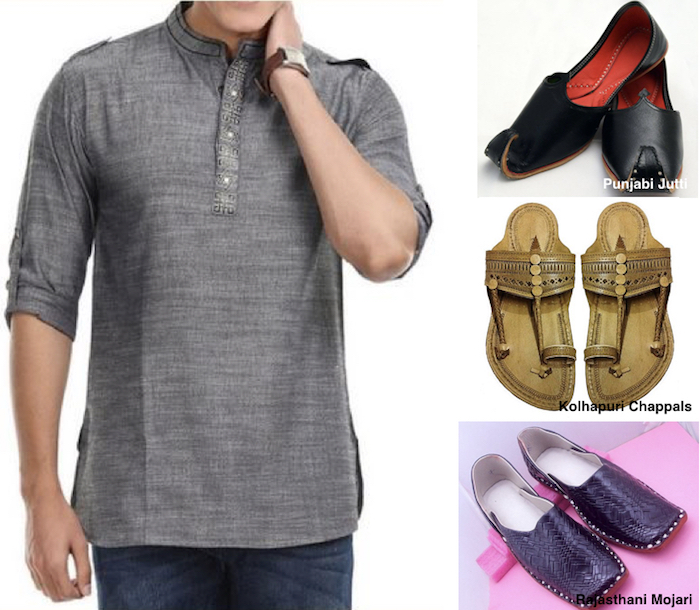 Mens-Ethnic-Wear-Style-Code-Short Kurtas with Denims